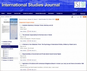 ISJ, Volume 15, Issue 3 - Serial Number 59, Winter 2019